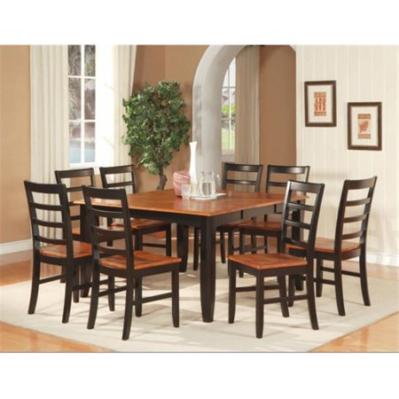 18' High Wooden Seat (Wooden Imports Furniture PF9-BLK-W 9PC Parfait Square Table with 18 in. Butterfly Leaf & 8 Wood Seat Chairs in Black & Cherry Finish)
