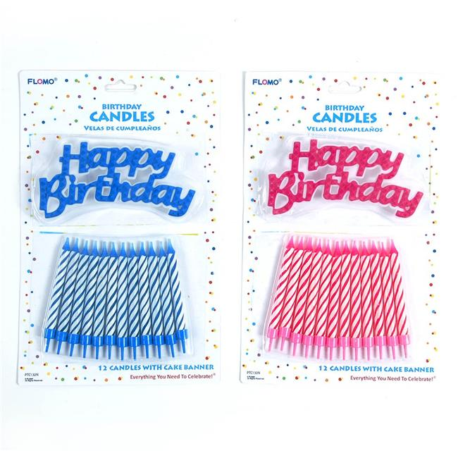 Eros F01-PTC132N Pink & Blue Assorted Spiral Candles with...