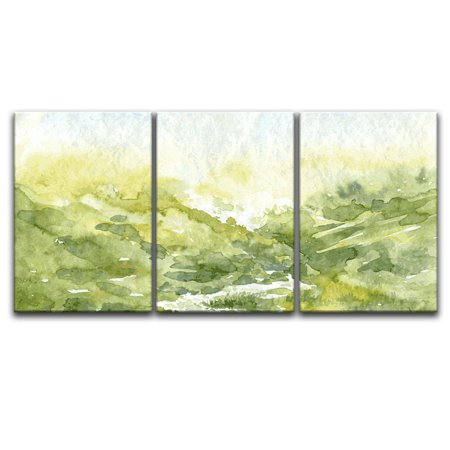 wall26 - 3 Panel Canvas Wall Art - Watercolor Style Spring Valley Green Grass - Giclee Print Gallery Wrap Modern Home Decor Ready to Hang - 24