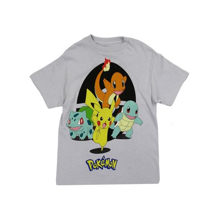 Pokemon Big Boys' Pikachu and Starters Tee, Gray (Pikachu Girl Or Boy)