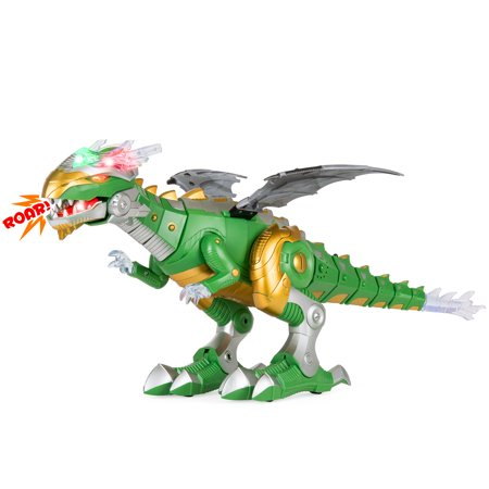 Best Choice Products Set of 2 Walking Dragon and Dinosaur Robot with Lights and Sounds,