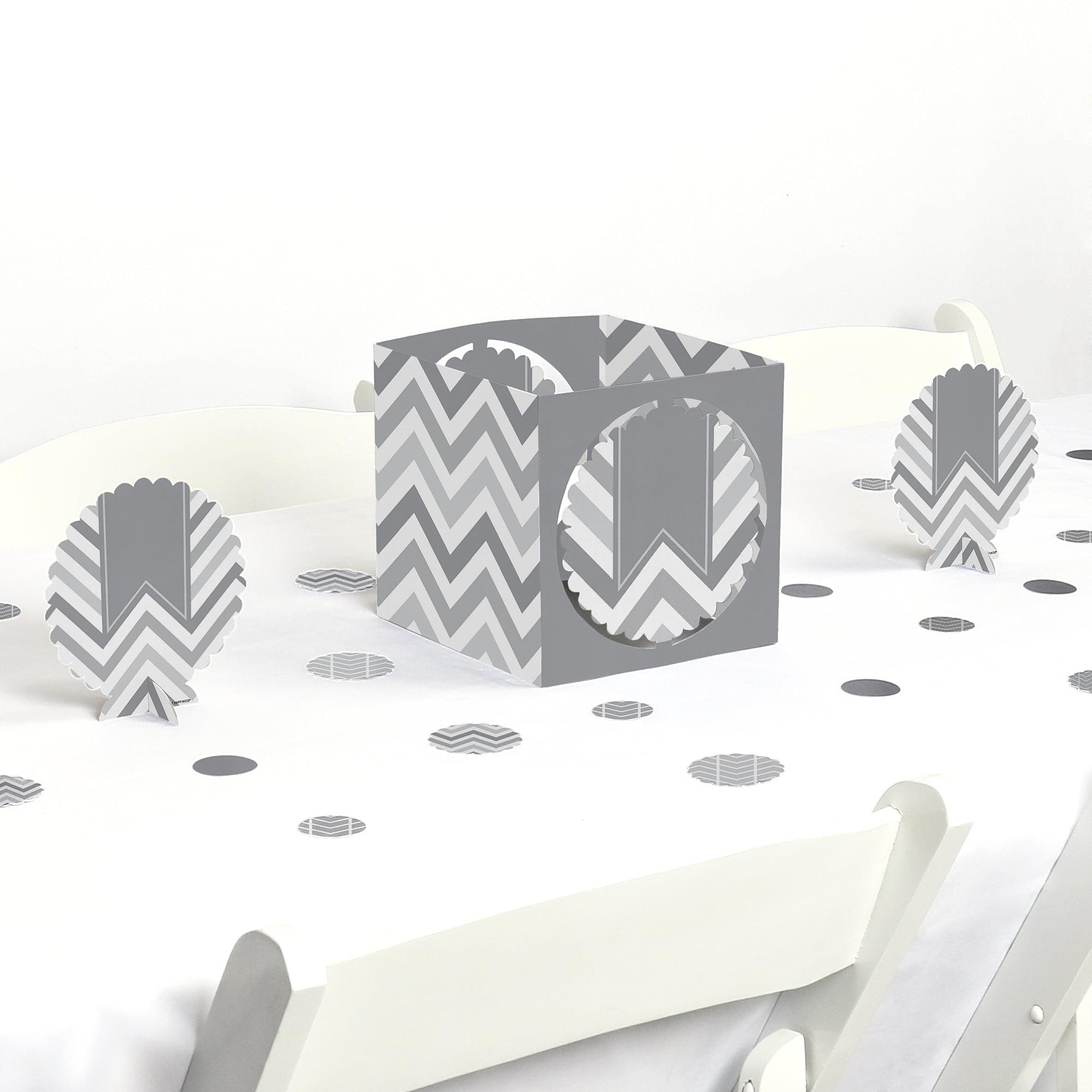 Chevron Gray - Party Centerpiece & Table Decoration Kit