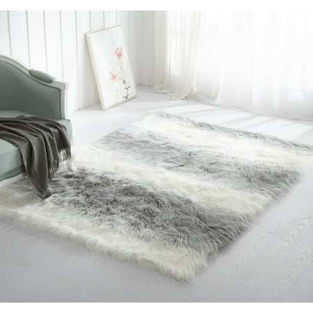 Mainstays Ombre Faux Fur Shag Rug, Multiple Colors and