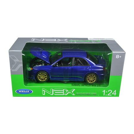 Subaru Impreza Wrx Sti Blue 1 24 Diecast Model Car By Welly