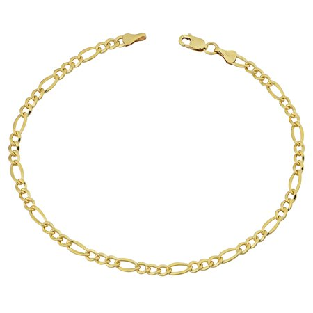 14K Yellow Gold Filled Solid Figaro Chain Bracelet, 3.2 mm, 8.5