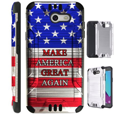 For Samsung Galaxy J3 Emerge / J3 Mission / J3 Luna Pro / Amp Prime 2 / Express Prime 2 / J3 (2017) / Sol 2 Case Brushed Metal Texture TPU Metallic Guard Phone Cover (Make America Great Again US (Make Your Own Case Samsung Galaxy S4)