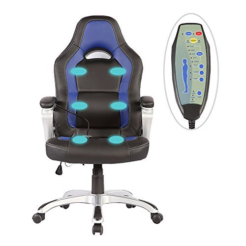Uenjoy Heated Vibrating Race Car Office Massage Chair PU Leather Ergonomic Computer