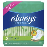 ALWAYS Ultra Thin Size 2 Super Pads With Wings Unscented, 58 Count