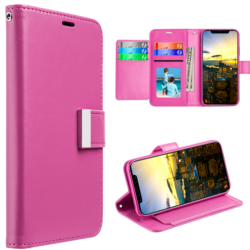 MUNDAZE Pink Storage Faux Leather Wallet Case For Apple iPhone X Phone