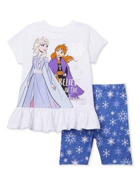 Frozen 2 Toddler Girls Short Sleeve Ruffle Peplum T-shirt & Bike Shorts, 2-Piece Outfit Set