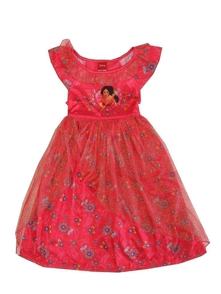 Disney Little Girls Coral Princess Elena Floral Short Sleeve Nightgown