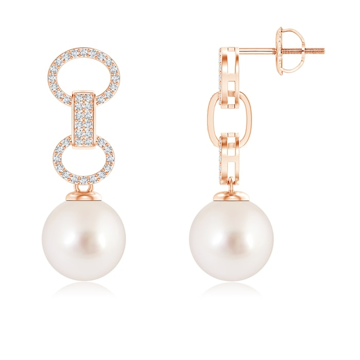 Angara South Sea Cultured Pearl Interlinked Drop Earrings