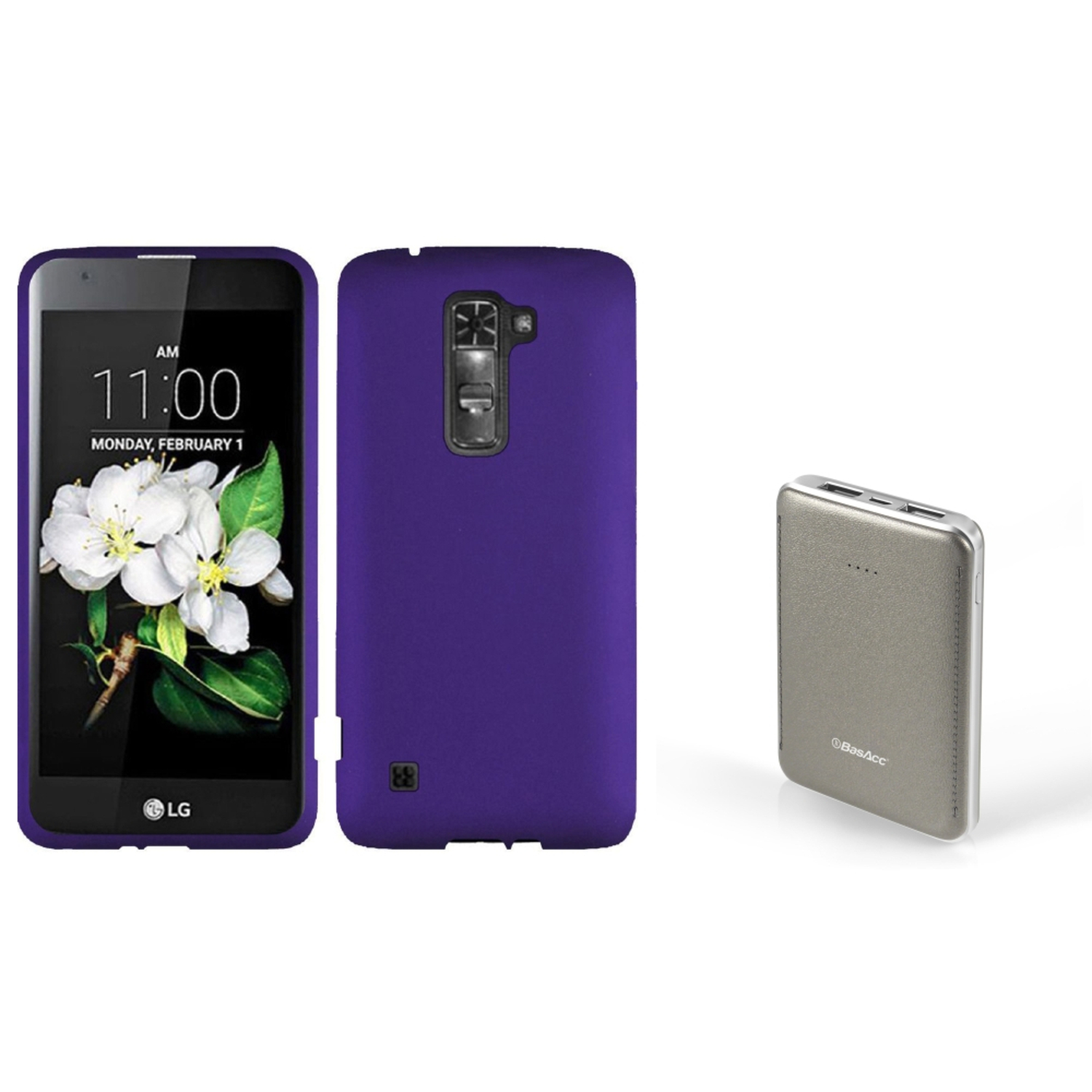 Insten Hard Rubberized Cover Case For LG K7 / Tribute 5 - Purple (with 6000mAh Portable External Battery Charger)