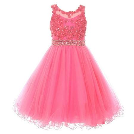 Girls Bubble Pink Rhinestone Pearl Beaded Mesh Junior Bridesmaid Dress 8-16](Pink Dresses Girls)