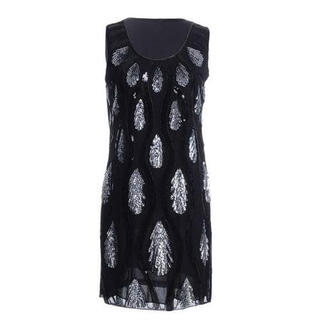 Fashion Womens Black Silver Sequin Teardrop Peacock Crew Neck Sleeveless Party Dress - Teardrop Dress