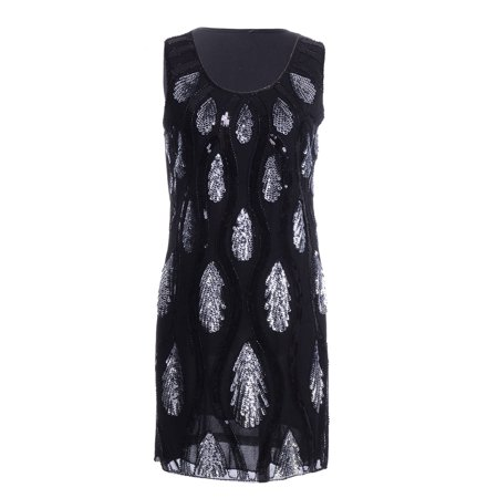 Fashion Womens Black Silver Sequin Teardrop Peacock Crew Neck Sleeveless Party Dress (Peacock Party Dress)