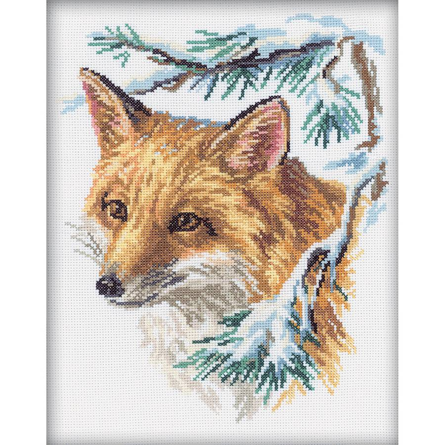 """The Fox Counted Cross Stitch Kit, 9"""" x 11.5"""", 14-Count"""
