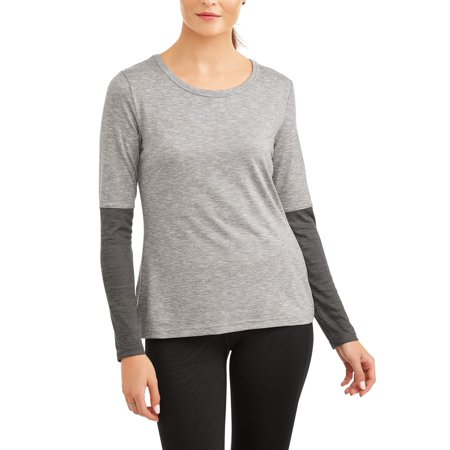 Athletic Works Women's Core Active Long Sleeve Contrast Performance (Athletic Works Womens Core Active Racerback Tank)