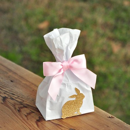 Bunny Party Favor Bags (10CT). Mini Bunny Favor Bags with Bows. Pink and Gold Some Bunny is One. W36MFB.
