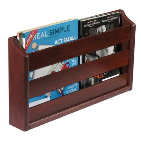 - Wooden Mallet MRS2MH 2 Pocket Wall Mounted Magazine Rack - Mahogany