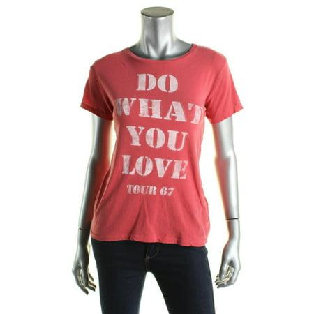 Denim & Supply Ralph Lauren Womens Slogan Crew Neck T-Shirt Red