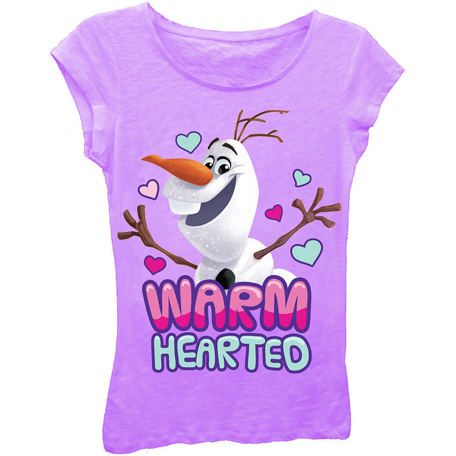 "Disney Frozen Olaf ""Warm Hearted"" Girls' Princess Graphic T-Shirt"