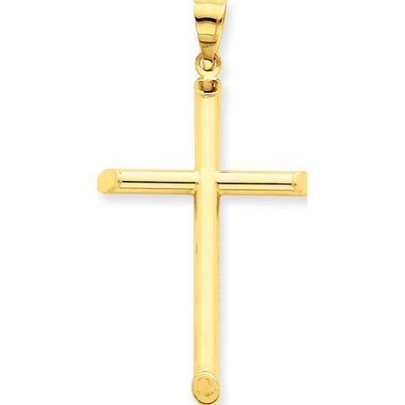 Leslies Fine Jewelry Designer 14k Yellow Gold 3-D Polished Hollow Cross (25x45mm) Pendant (14k Hollow Cross Pendant)