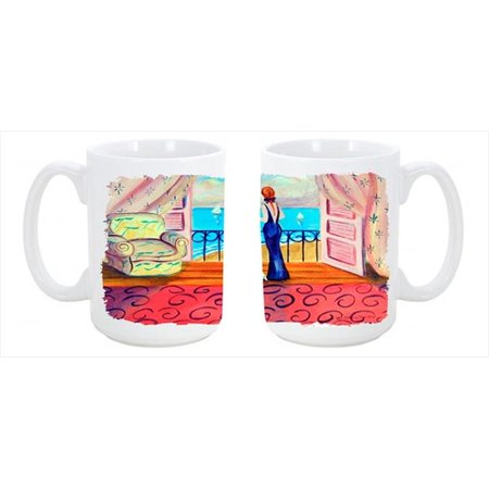 Westie with Mom and a view Dishwasher Safe Microwavable Ceramic Coffee Mug 15 oz. - image 1 of 1