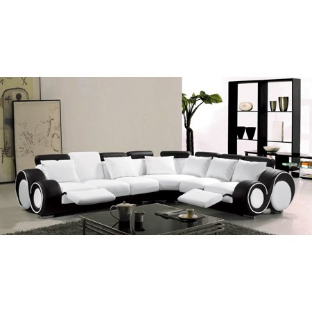 Modern Classic Contemporary White And Black Bonded Leather Sectional Sofa  Set Reclining Loveseat Sofa Corner Living Room Couch