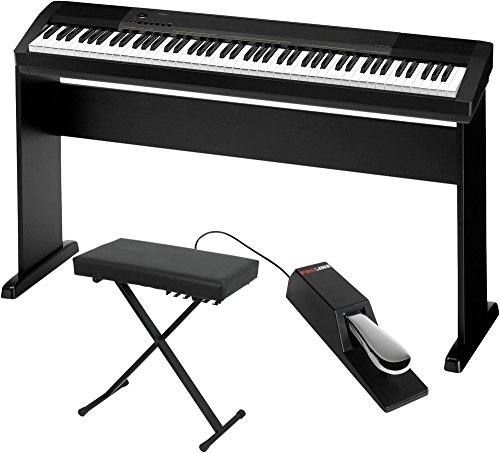 Casio CDP-130 Digital Piano with CS44 Wood Stand Sustain Pedal and Deluxe Keyboard Bench by