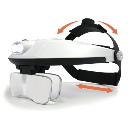 Magnifier With Light - MagniPros Head Mount Magnifier with Bright LED Head Lamp -Interchangeable 5 Lenses- 2 Way Adjustable Straps with Padding