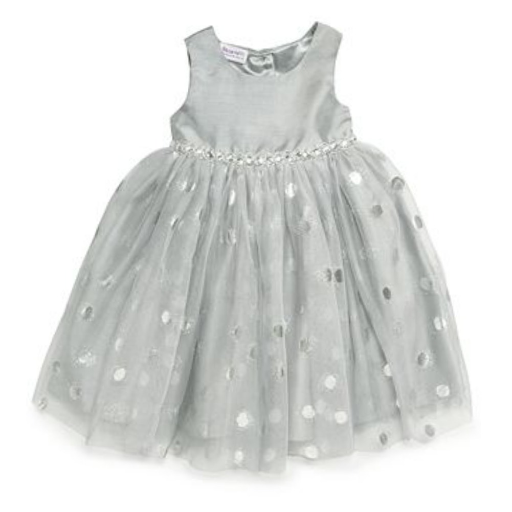 Blueberi Infant Toddler Girls Silver Party Dress Glitter Tulle Accents