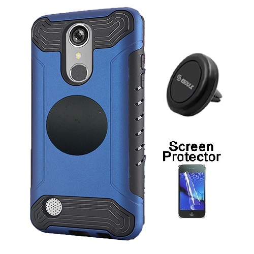 LG Rebel 3 Protective Case, Phone Case for Tracfone LG Rebel 3 Prepaid Smartphone, Screen Protector + Universal Air Vent Magnetic Car Mount Phone Holder (Blue)