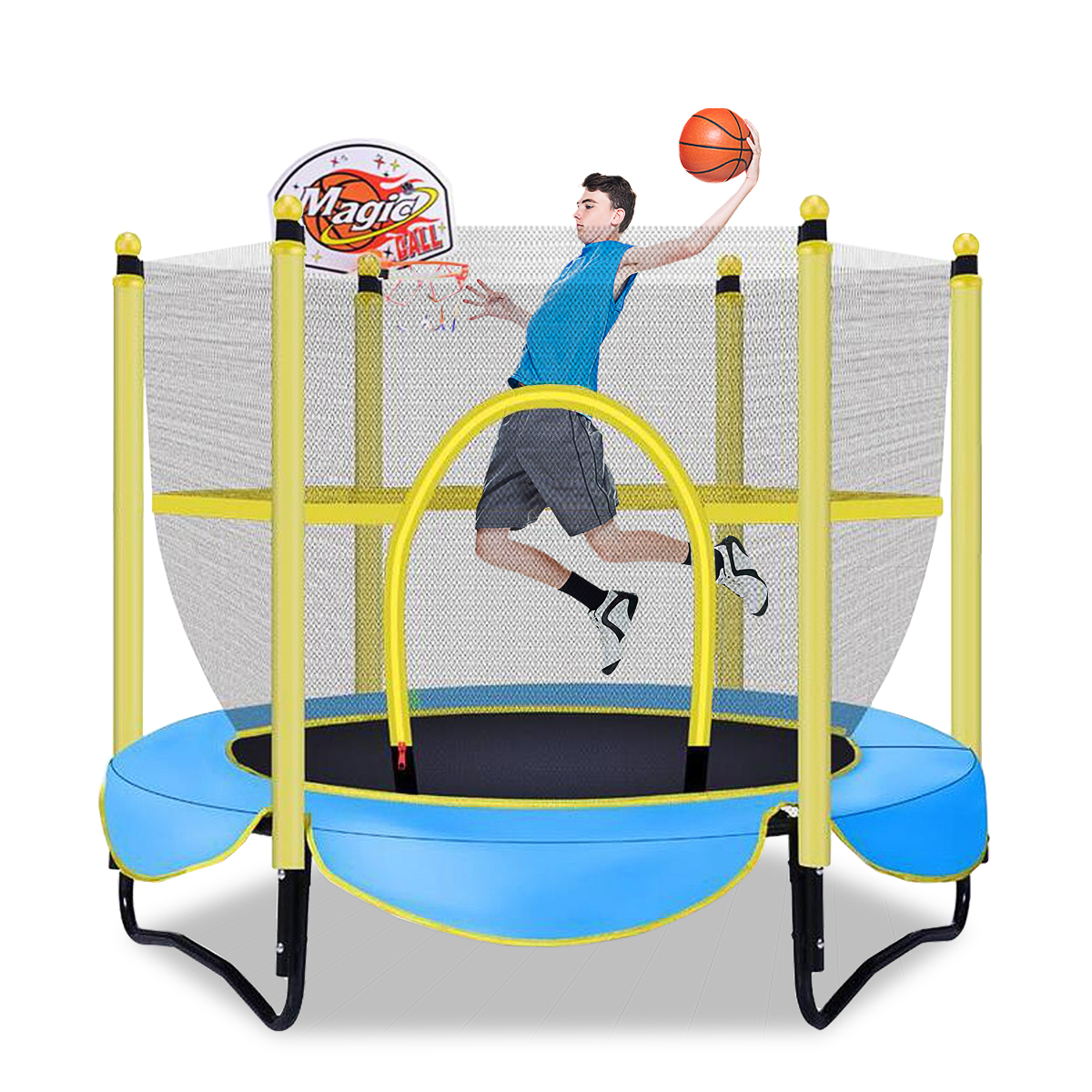 Kids Trampoline with Enclosure Net, 55inch High Elasticity ...