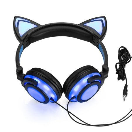 JINSERTA Wired Cat Ear Headphones Glowing Lights with USB Charging ...