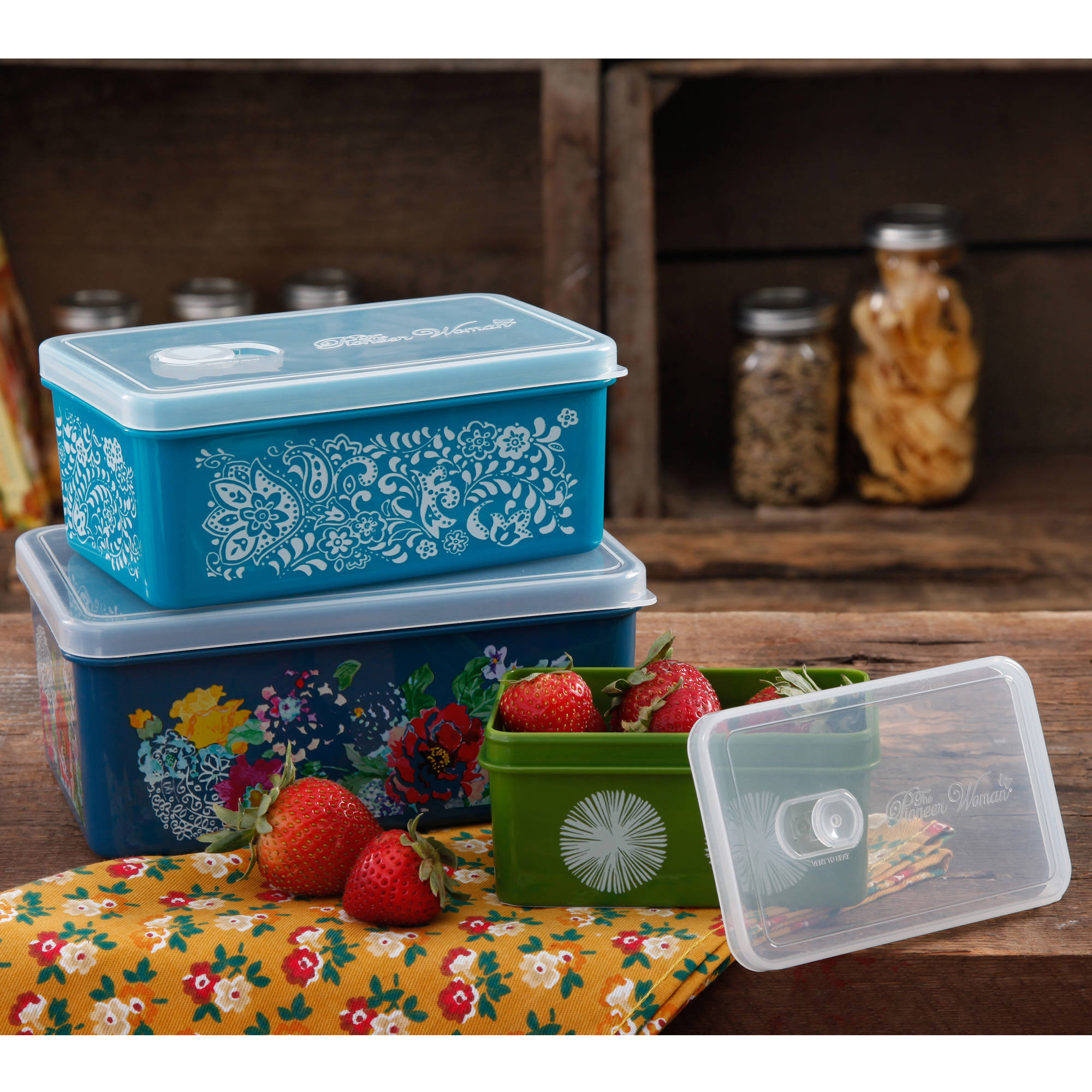 The Pioneer Woman Rectangular Food Storage With Vent Container Set, Set Of  3, Multiple