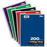 TOPS, TOP65581, 5 Subject College Ruled Notebook (Assorted Colors)