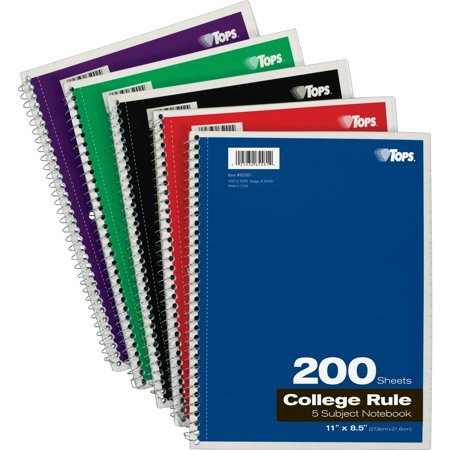 Letter Notebook - TOPS, TOP65581, 5 - subject College - ruled Notebooks - Letter, 1 Each