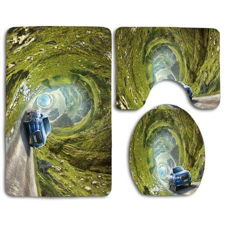 XDDJA Time Travel 3 Piece Bathroom Rugs Set Bath Rug Contour Mat and Toilet Lid Cover - image 1 de 2