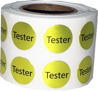 Metallic Silver Tester Stickers, 1/2 Inch Round, 1000 Labels on a Roll