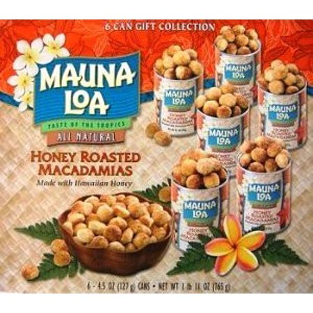 Hawaiian Value Gift Packs Mauna Loa Honey Roasted Macadamia Nuts 6 Cans