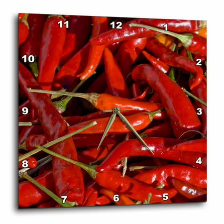 3dRose USA, New Mexico, Hatch Chili market - US32 PHA0009 - Peter Hawkins, Wall Clock, 13 by 13-inch