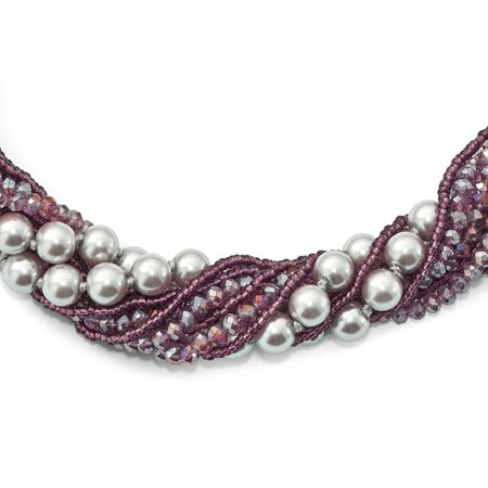 - Purple Austrian and Cubic Zirconiaech Crystal With Glass Beads And Grey Glass Pearls Necklace