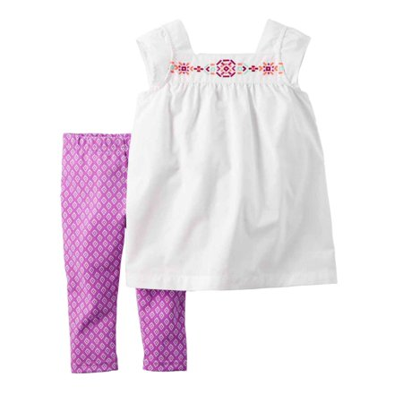 Carters Infant Girls Baby Outfit White Blouse Shirt & Purple Leggings Set