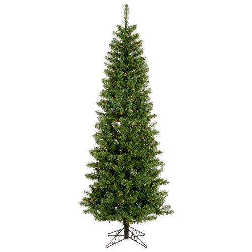 Vickerman Salem Pencil Pine 7.5' Green Artificial Christmas Tree with 350 Multicolored Lights with Stand