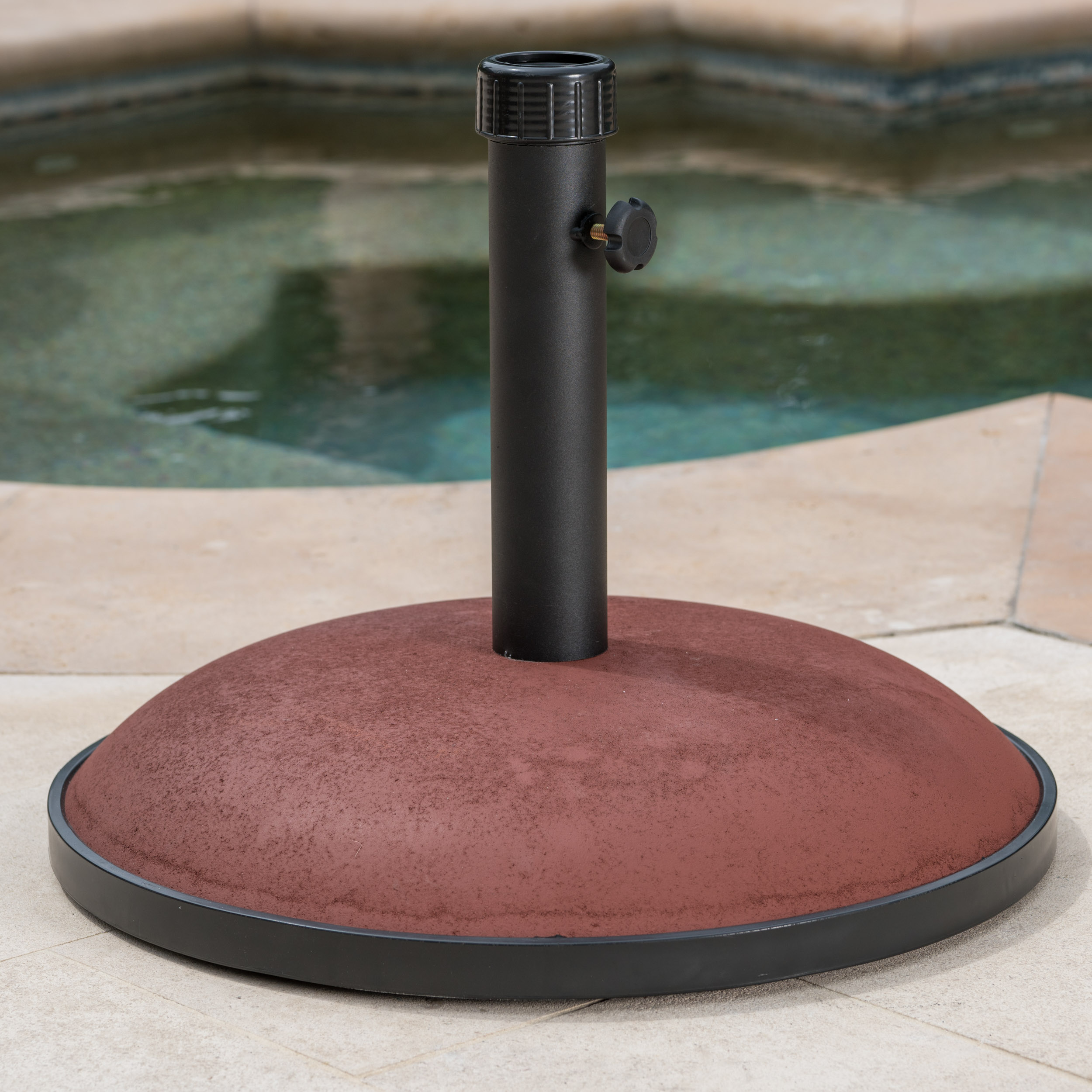 Maximus 66lbs Concrete and Iron Umbrella Base, Brownish Red