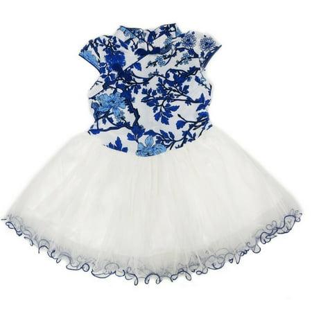 Wenchoice Little Girls Blue White Chinese Printing Silk Cheongsam Dress Chinese Silk Cheongsam Dress