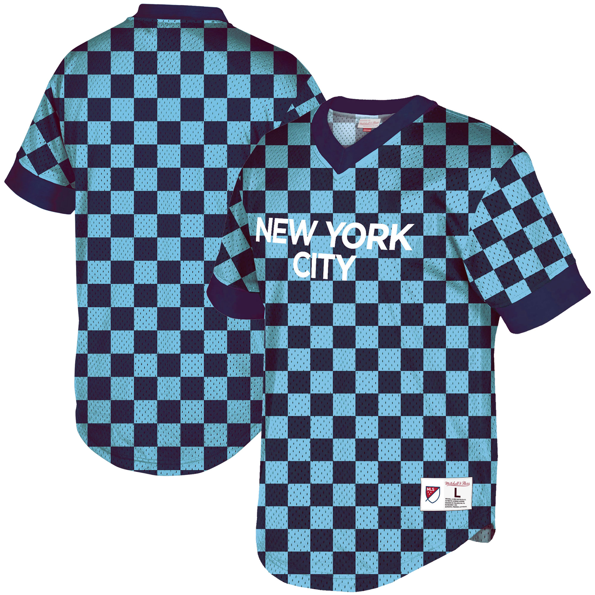 New York City FC Mitchell & Ness Wordmark Mesh V-Neck Shirt - Sky Blue