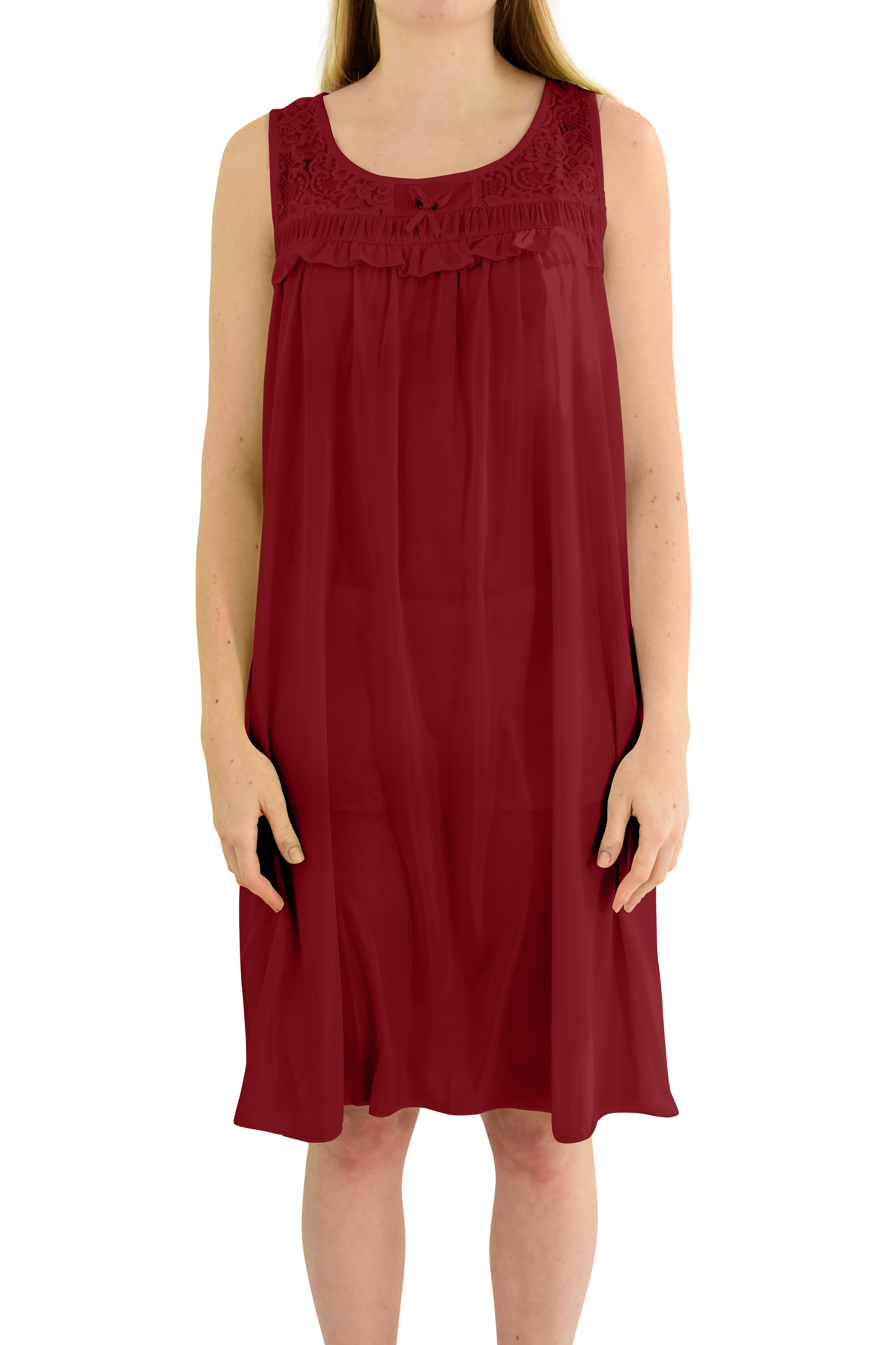 EZI Women's 'Regina' Sleeveless Satin Nightgown
