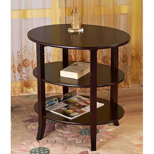 Home Craft 3 Tier Oval End Table, Espresso Finish